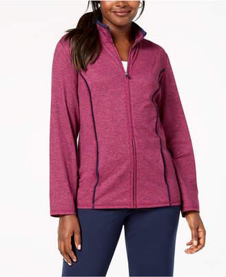 Karen Scott Sport French Terry Stand-Collar Zip-Front Jacket