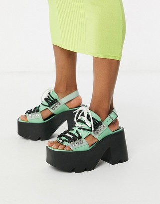 ASOS DESIGN Hellish chunky heeled sandals in mint