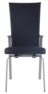 Orren Ellis Molly Leather Upholstered Dining Chair (Set of 2 Upholstery Color: Black