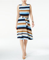 Charter Club Petite Belted Striped Fit & Flare Dress, Only at Macy's
