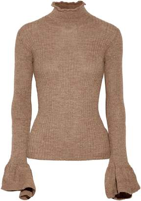 Acne Studios Raine Cutout Ribbed Alpaca And Wool-blend Turtleneck Sweater