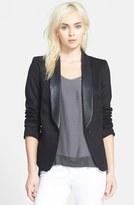 James Jeans Women's Faux Leather Lapel Ponte Blazer