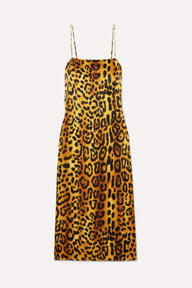 ADAM by Adam Lippes Leopard-print Hammered Silk-crepe Dress - Brown
