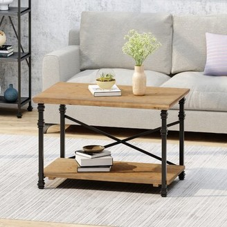 17 Stories Moser Coffee Table Table Top Color: Antique Brown, Table Base Color: Black