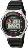 Casio Men's 'Illuminator' Quartz Resin Watch, Color: (Model: W-216H-1CVCF)