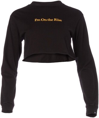 True Religion Women's Im On The Rise Short Sleeve Crop Tee