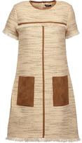 Raoul Ambra Velvet-Trimmed Cotton-Blend Tweed Mini Dress