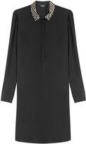DKNY Silk Shirt Dress with Embellished Collar