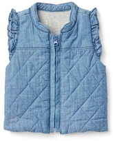 Gap Quilted ruffle chambray vest