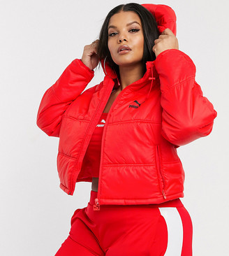 Puma Plus cropped puffer jacket in red Exclusive to ASOS
