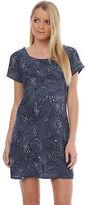 Volcom New Women's Star Lite Tee Dress Short Sleeve Mesh Blue