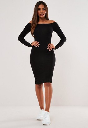 Missguided Black Bardot Long Sleeve Midi Dress