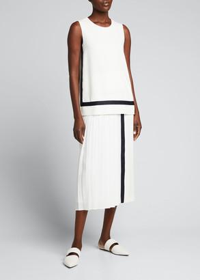 Max Mara Pinne Contrast-Trim Box Pleated Midi Skirt