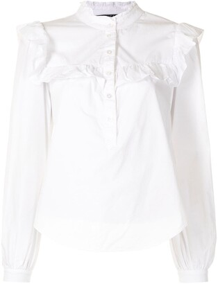 Veronica Beard Ruffled Details Henley Shirt