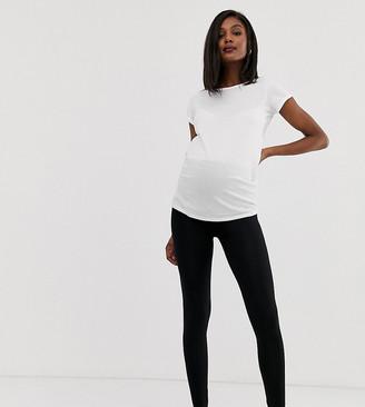 Asos DESIGN Maternity over the bump high waisted leggings in black