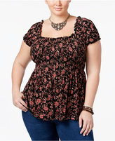 American Rag Trendy Plus Size Floral-Print Babydoll Top, Only at Macy's