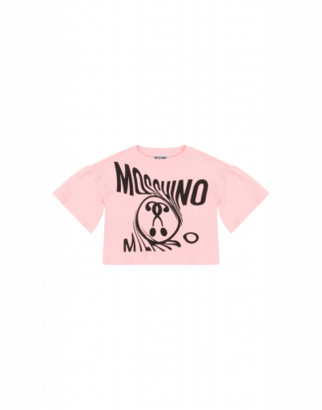 Moschino Distorted Double Question Mark T-shirt Woman Pink Size 4a It - (4y Us)