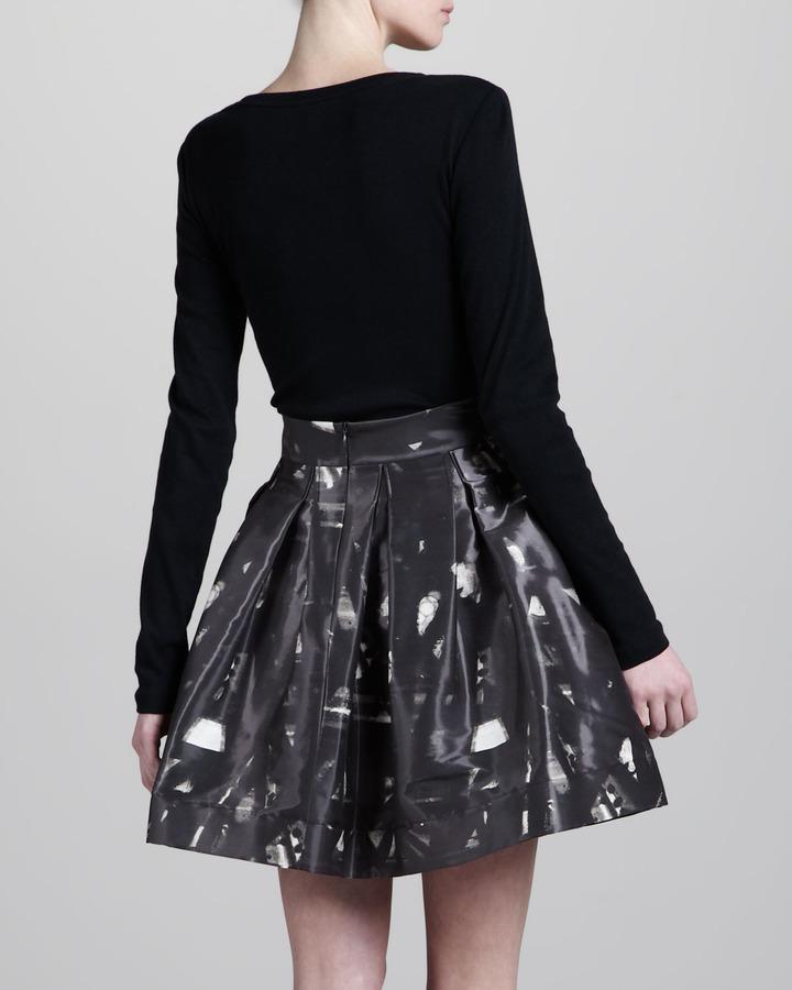 Zac Posen Jacquard-Print A-Line Skirt