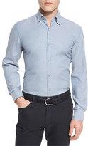 Ermenegildo Zegna Flannel Long-Sleeve Sport Shirt, Light Blue