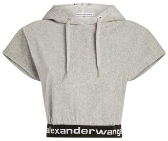 Alexander Wang Cropped Logo Tape Hoodie