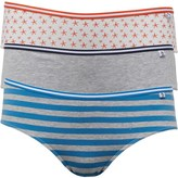 Original Penguin Womens Three Pack Brazilian Briefs Coral Stripe