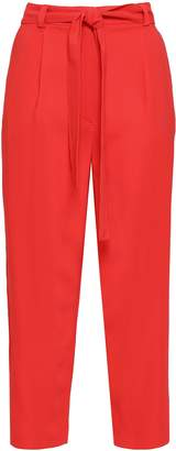 M Missoni Belted Cropped Stretch-crepe Straight-leg Pants