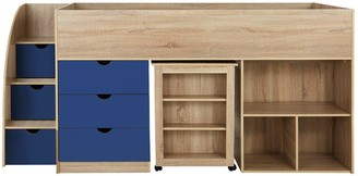 Mico Mid Sleeper Bed with Pull-Out Desk andStorage - Oak Effect/Blue