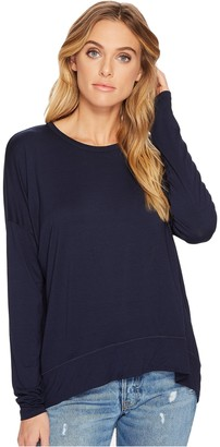 Three Dots Women's Refined Jersey Pleated Tight mid Shirt