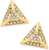 ABS by Allen Schwartz Gold-Tone Pave Pyramid Stud Earrings