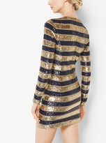 Michael Kors Awning Stripe Sequined Stretch-Tulle Dress