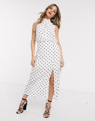Glamorous polka dot midi dress in white