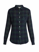 R 13 Point-collar plaid wool shirt