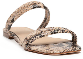 Black Suede Studio Renata Python-Print Flat Sandals