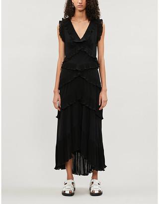 Zimmermann Black Super Eight Sleeveless Tiered-Ruffles Chiffon Midi Dress, Size: XS