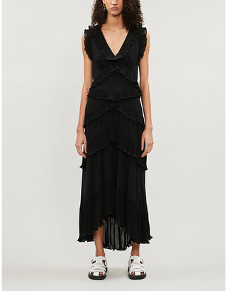 Zimmermann Super Eight sleeveless tiered-ruffles chiffon midi dress