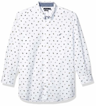 Nautica Men's Big Long Sleeve Stretch Icon Print Button Down Shirt
