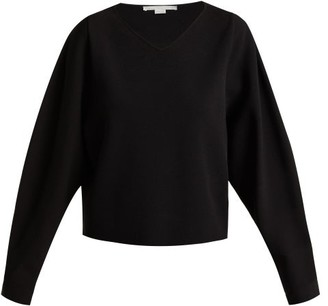 Stella McCartney V-neck Step-hem Fine-knit Sweater - Womens - Black