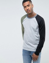 Benetton Sweatshirt With Raglan Sleeves In Color Block