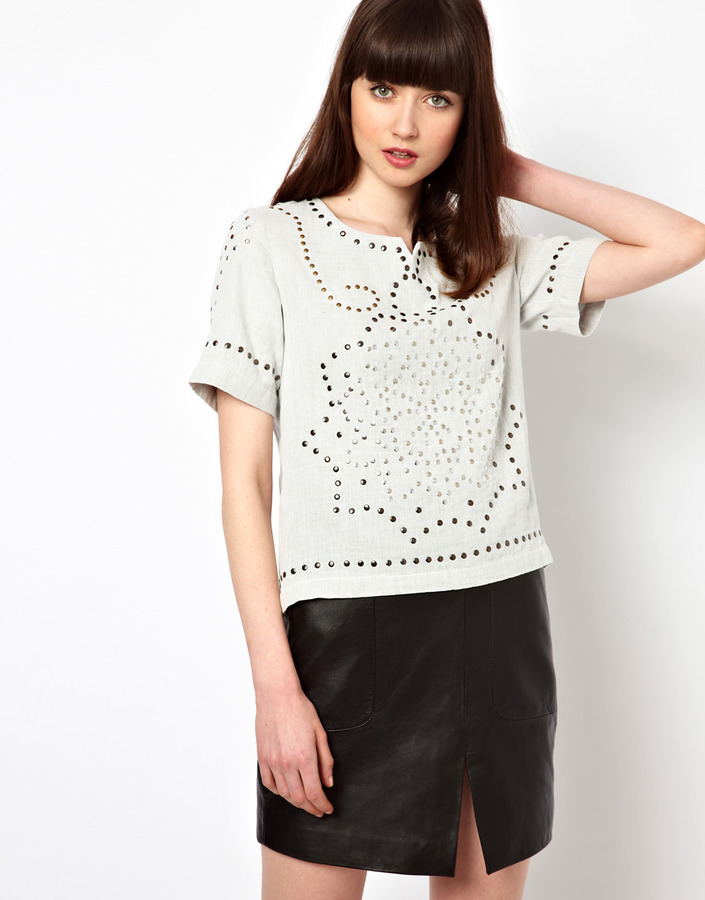 Selected Studded Woven Shell Top