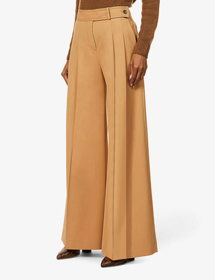 Victoria Victoria Beckham Belted wide-leg high-rise wool-blend trousers