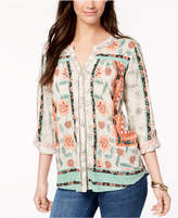 Style&Co. Style & Co Petite Printed Split-Neck Shirt, Created for Macy's