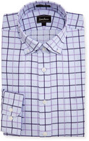Neiman Marcus Classic-Fit Regular-Finish Plaid Dress Shirt, Purple