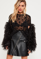 Missguided Black Star Mesh T-Shirt