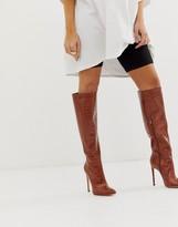 Simmi London Samia brown croc stiletto knee boots