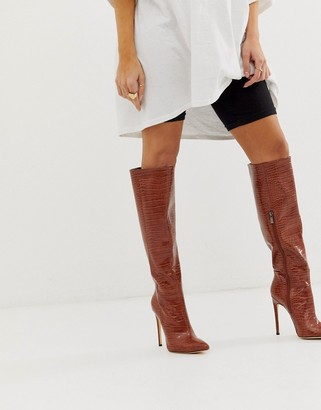Simmi Shoes Simmi London Samia brown croc stiletto knee boots
