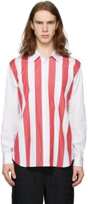 Comme des Garcons White and Red Broad Stripe Shirt
