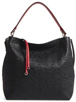 MCM Klara Monogrammed Leather Hobo Bag - Black
