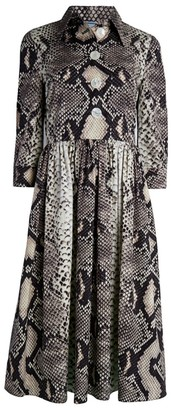 Prada Snakeskin-Print Poplin Shirtdress