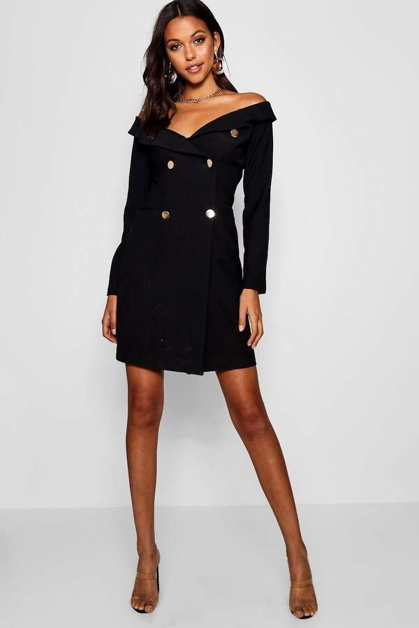 boohoo Tall Off The Shoulder Military Blazer Dress