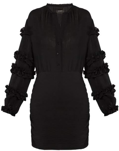 Isabel Marant Celest Ruffle Trimmed Cotton Gauze Dress - Womens - Black